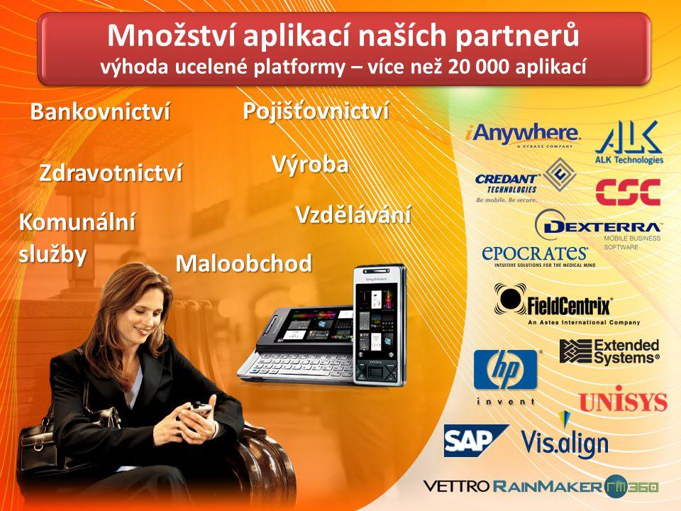 Bankovnictví Pojišťovnictví Zdravotnictví Výroba Komunální služby Vzdělávání Maloobchod Množství aplikací naších partnerů výhoda ucelené platformy – v