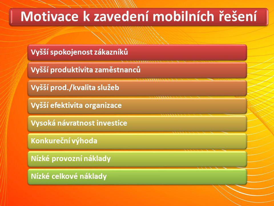 Motivace k zavedení mobilních řešení Vyšší spokojenost zákazníkůVyšší produktivita zaměstnancůVyšší prod./kvalita služebVyšší efektivita organizaceVys
