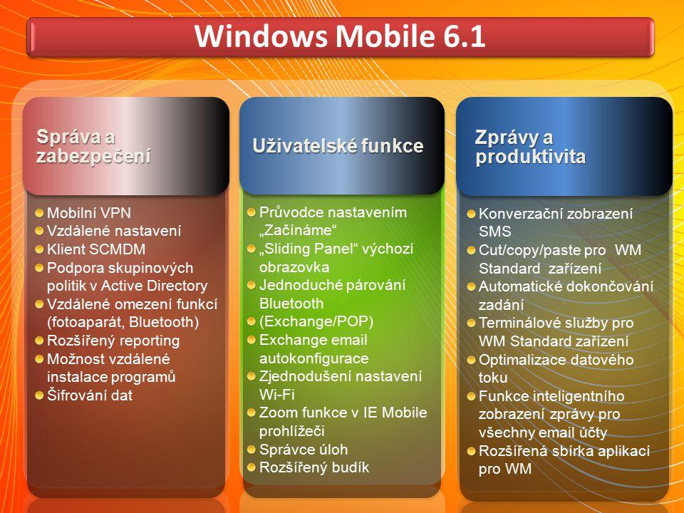 System Center Mobile Device Manager (SCMDM) Pomáhá IT administrátorům spravovat mobilní zařízení s Windows Mobile podobně jako notebooky a počítače Umožňuje lepší přístup k firemním datům a aplikacím, umístěným za firemním firewallem Hlídá bezpečnost citlivých firemních dat a soulad mobilních zařízení s firemními zásadami IT, to vše v jednotném prostředí