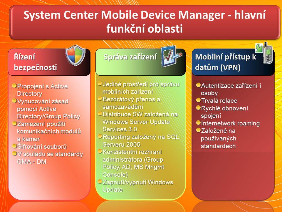System Center Mobile Device Manager - hlavní funkční oblasti Jediné prostředí pro správu mobilních zařízení Bezdrátový přenos a samozavádění Distribuc