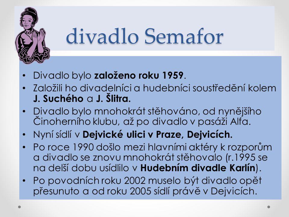 divadlo Semafor Divadlo bylo založeno roku 1959. Založili ho divadelníci a hudebníci soustředění kolem J. Suchého a J. Šlitra. Divadlo bylo mnohokrát