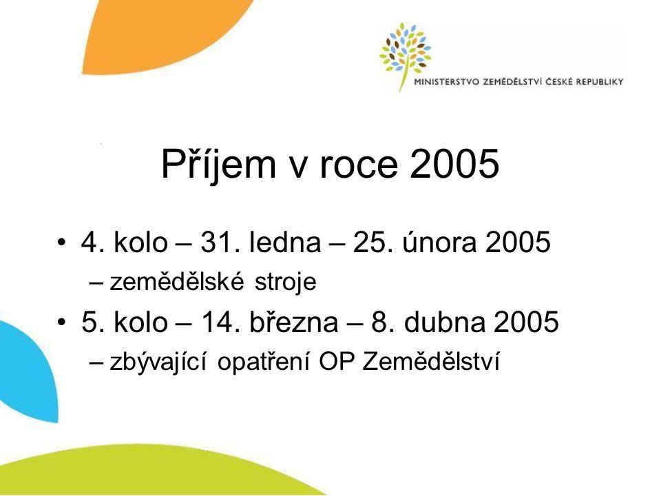 Příjem v roce 2005 4. kolo – 31. ledna – 25. února 2005 –zemědělské stroje 5. kolo – 14. března – 8. dubna 2005 –zbývající opatření OP Zemědělství