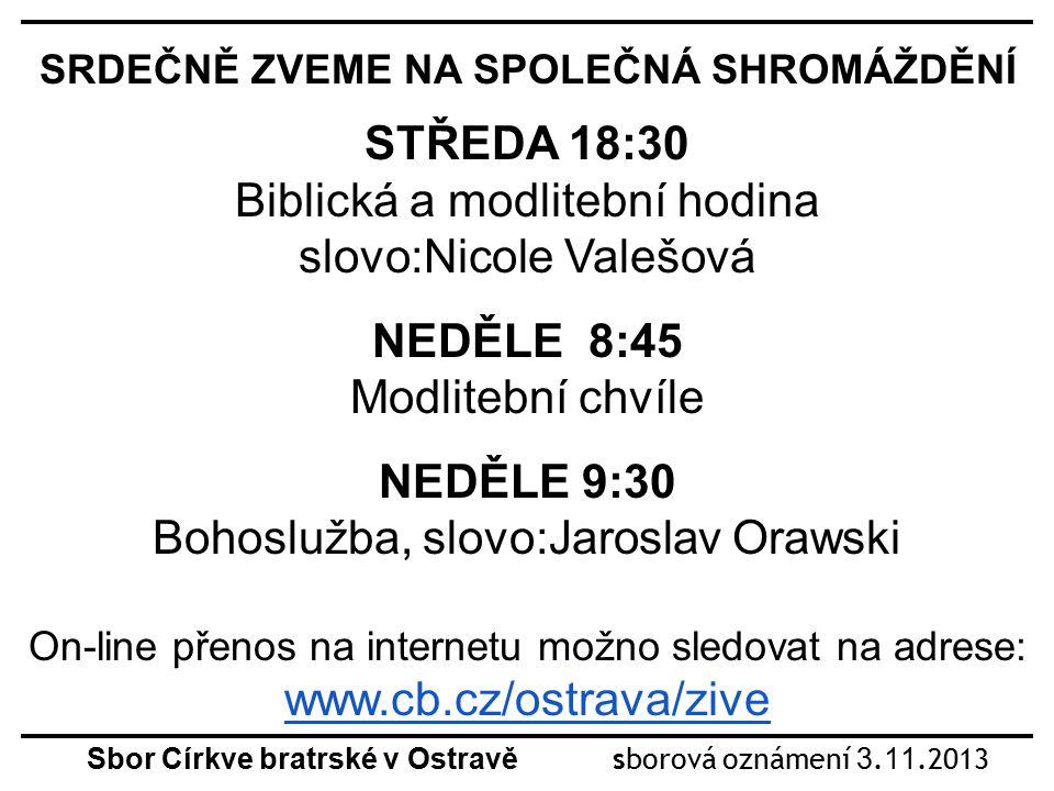 Sbor Církve bratrské v Ostravě sborová oznámení 3.