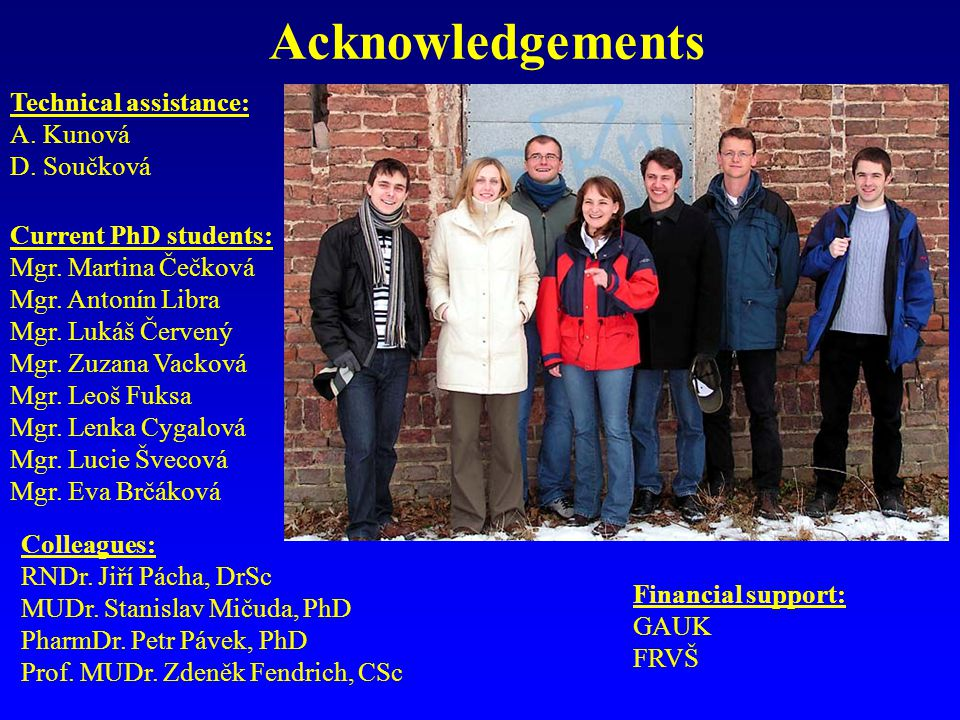 Acknowledgements Current PhD students: Mgr. Martina Čečková Mgr.