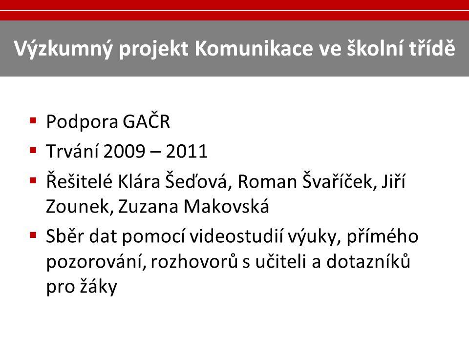 Výzkumný projekt Komunikace ve školní třídě  Podpora GAČR  Trvání 2009 – 2011  Řešitelé Klára Šeďová, Roman Švaříček, Jiří Zounek, Zuzana Makovská