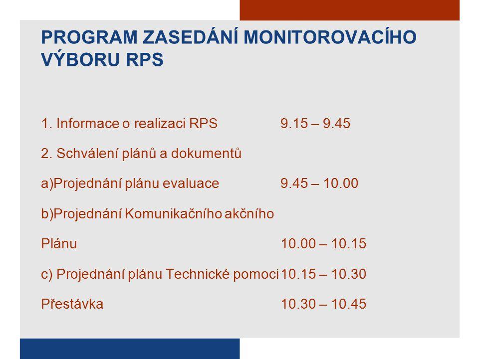 PROGRAM ZASEDÁNÍ MONITOROVACÍHO VÝBORU RPS 1.Informace o realizaci RPS 9.15 – 9.45 2.