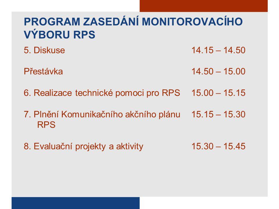 PROGRAM ZASEDÁNÍ MONITOROVACÍHO VÝBORU RPS 5.Diskuse 14.15 – 14.50 Přestávka 14.50 – 15.00 6.