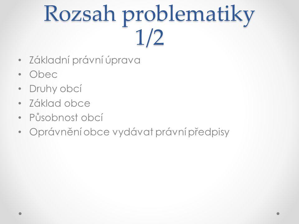Rozsah problematiky 2/2 Orgány obce Správce obce Spolupráce obcí