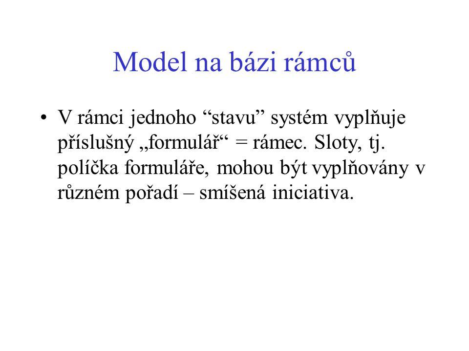 """Model na bázi rámců V rámci jednoho stavu systém vyplňuje příslušný """"formulář = rámec."""