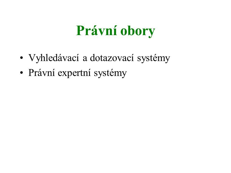 Právní obory Vyhledávací a dotazovací systémy Právní expertní systémy