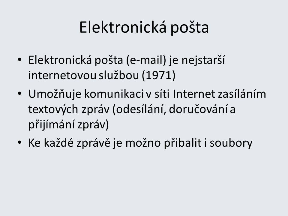 Elektronická pošta Elektronická pošta (e-mail) je nejstarší internetovou službou (1971) Umožňuje komunikaci v síti Internet zasíláním textových zpráv