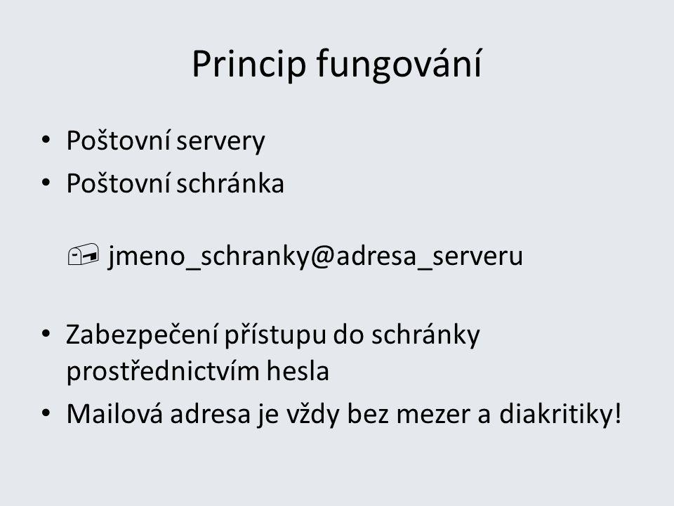 Princip fungování Poštovní servery Poštovní schránka  jmeno_schranky@adresa_serveru Zabezpečení přístupu do schránky prostřednictvím hesla Mailová ad