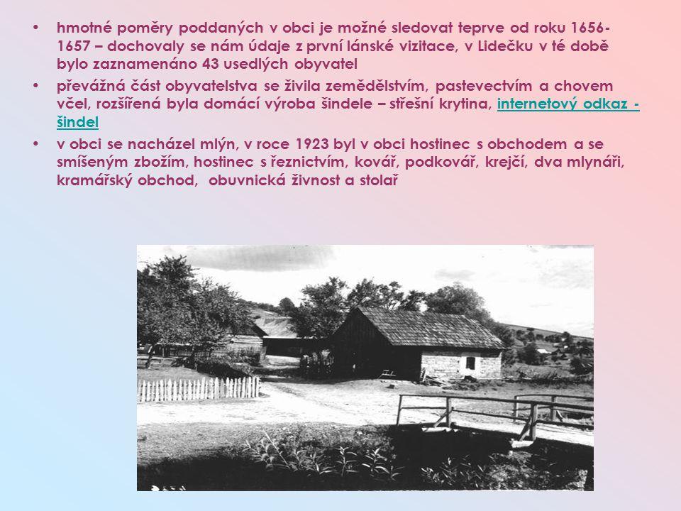 hmotné poměry poddaných v obci je možné sledovat teprve od roku 1656- 1657 – dochovaly se nám údaje z první lánské vizitace, v Lidečku v té době bylo zaznamenáno 43 usedlých obyvatel převážná část obyvatelstva se živila zemědělstvím, pastevectvím a chovem včel, rozšířená byla domácí výroba šindele – střešní krytina, internetový odkaz - šindelinternetový odkaz - šindel v obci se nacházel mlýn, v roce 1923 byl v obci hostinec s obchodem a se smíšeným zbožím, hostinec s řeznictvím, kovář, podkovář, krejčí, dva mlynáři, kramářský obchod, obuvnická živnost a stolař