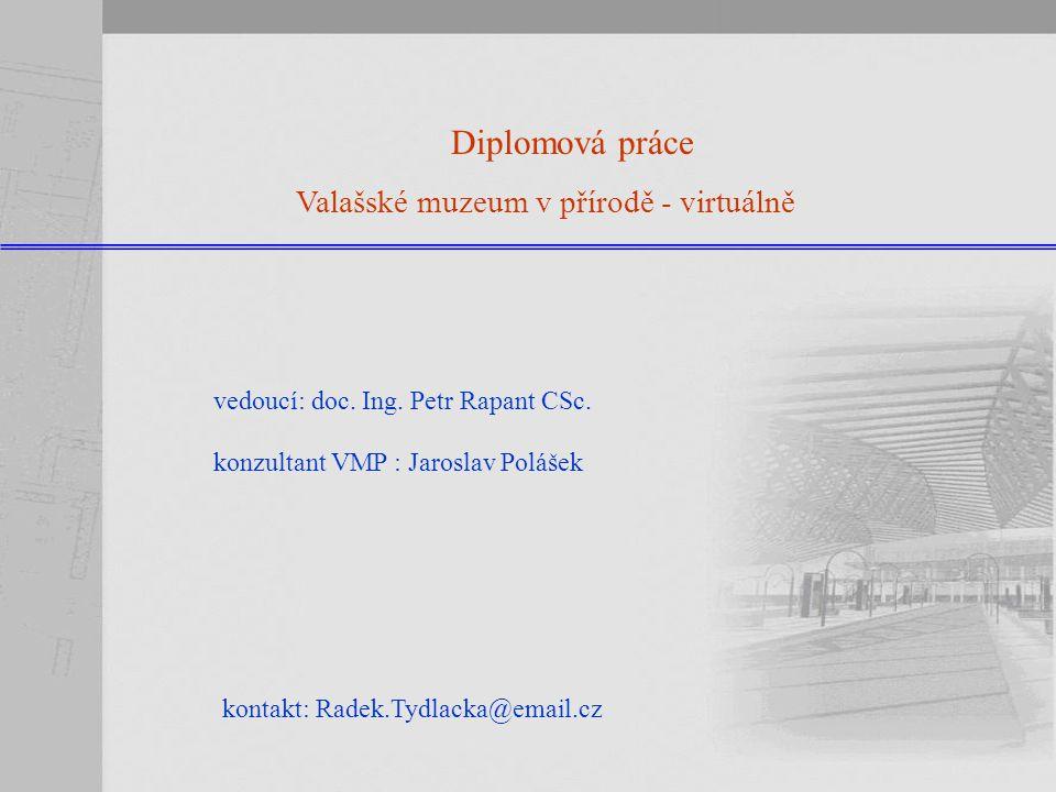 Zadání diplomové práce : Diplomová práce: Valašské muzeum v přírodě - virtuálně vytvoření virtuálního modelu VMP prezentace s využitím Minnesota MS