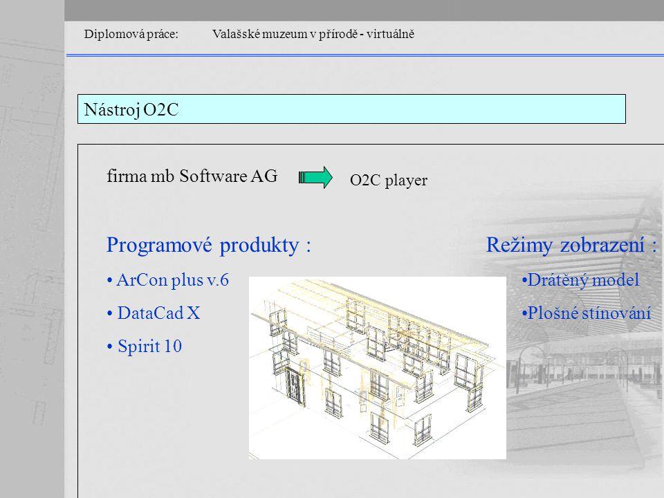 Diplomová práce: Valašské muzeum v přírodě - virtuálně Nástroj O2C firma mb Software AG O2C player Programové produkty : ArCon plus v.6 DataCad X Spirit 10 Režimy zobrazení : Drátěný model Plošné stínování