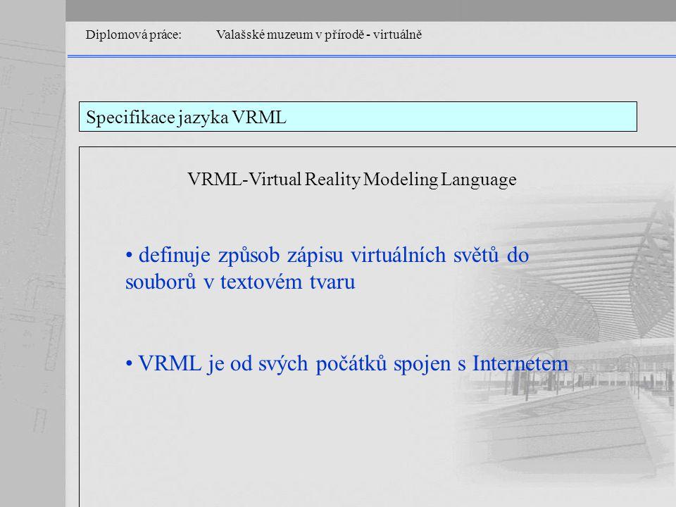 Diplomová práce: Valašské muzeum v přírodě - virtuálně Specifikace jazyka VRML VRML-Virtual Reality Modeling Language definuje způsob zápisu virtuálních světů do souborů v textovém tvaru VRML je od svých počátků spojen s Internetem