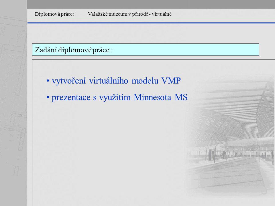 Diplomová práce: Valašské muzeum v přírodě - virtuálně Tvorba modelů jazykem VRML Textový editorVRML editor Cosmo World 3D studio MAX VRML Pad Notepad …