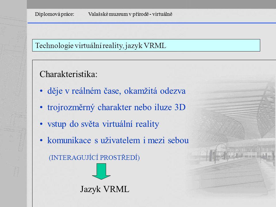 Technologie virtuální reality, jazyk VRML Diplomová práce: Valašské muzeum v přírodě - virtuálně Charakteristika: děje v reálném čase, okamžitá odezva trojrozměrný charakter nebo iluze 3D vstup do světa virtuální reality komunikace s uživatelem i mezi sebou (INTERAGUJÍCÍ PROSTŘEDÍ) Jazyk VRML
