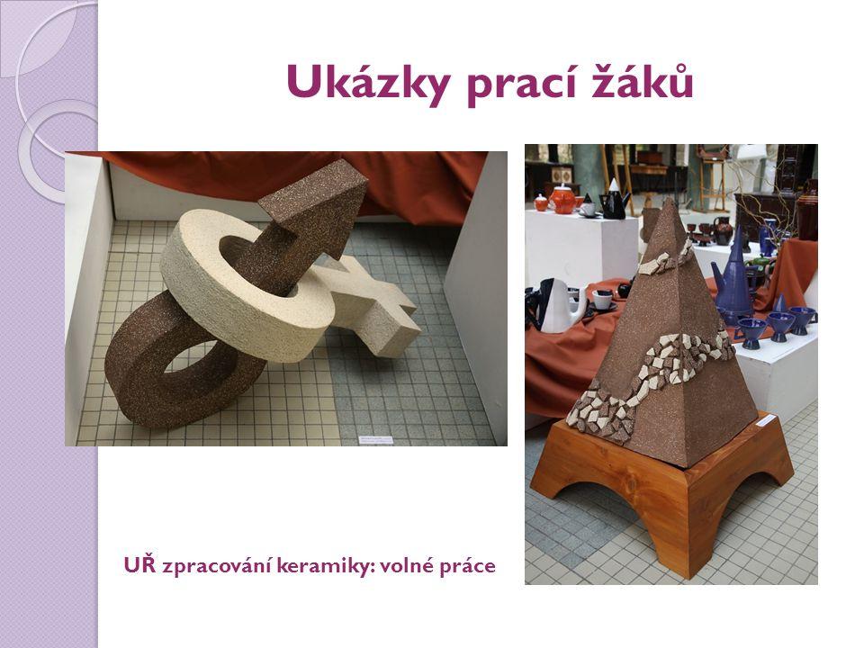 Ukázky prací žáků UŘ zpracování keramiky: volné práce