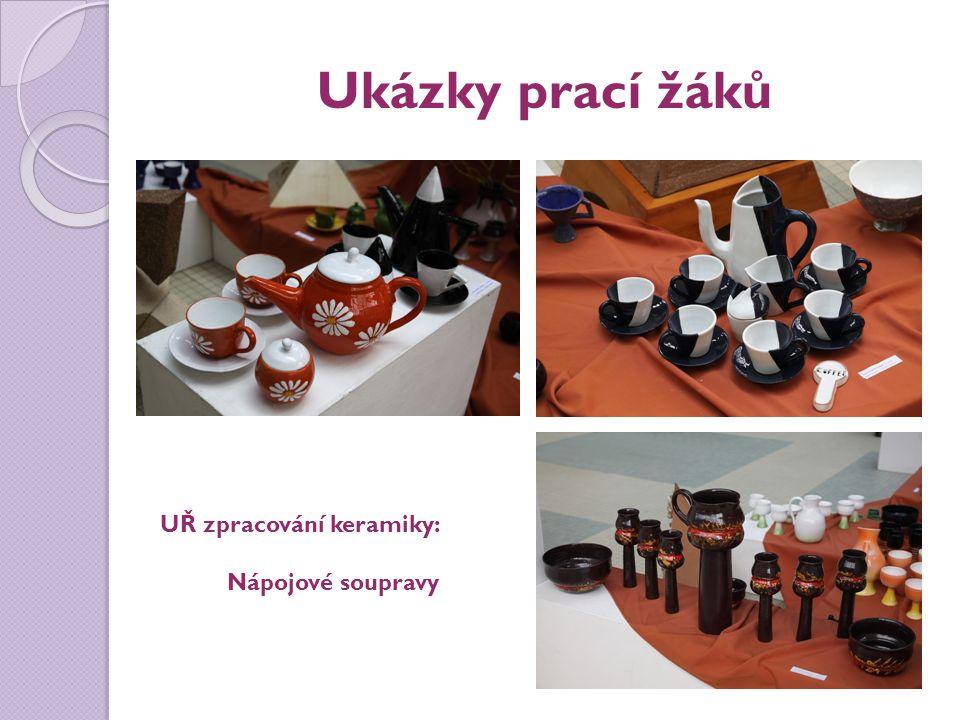 Ukázky prací žáků UŘ zpracování keramiky: Nápojové soupravy