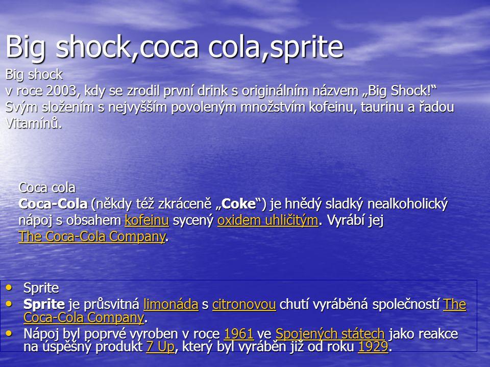 Big shock,coca cola,sprite Sprite Sprite Sprite je průsvitná limonáda s citronovou chutí vyráběná společností The Coca-Cola Company. Sprite je průsvit