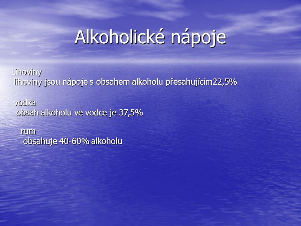 Alkoholické nápoje Lihoviny lihoviny jsou nápoje s obsahem alkoholu přesahujícím22,5% lihoviny jsou nápoje s obsahem alkoholu přesahujícím22,5% vodka
