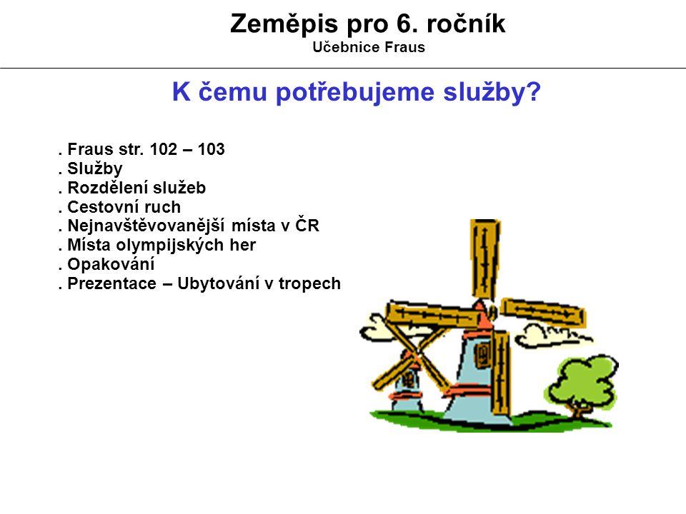 Zeměpis pro 6.ročník Učebnice Fraus K čemu potřebujeme služby?.