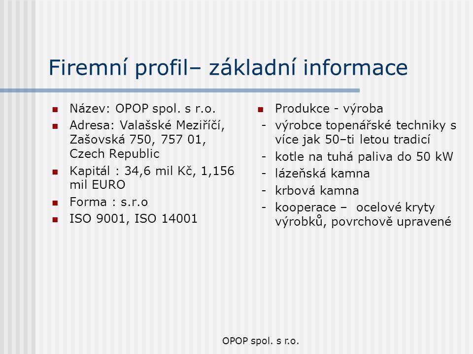 OPOP spol. s r.o. Firemní profil– základní informace Název: OPOP spol. s r.o. Adresa: Valašské Meziříčí, Zašovská 750, 757 01, Czech Republic Kapitál