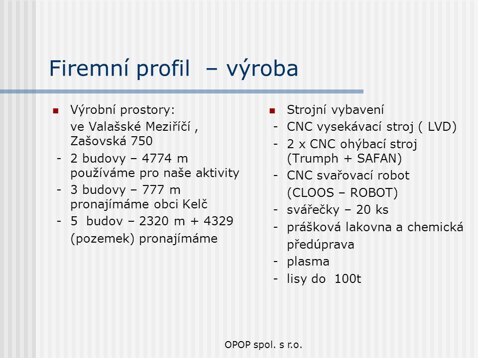 OPOP spol. s r.o. Firemní profil – výroba Výrobní prostory: ve Valašské Meziříčí, Zašovská 750 - 2 budovy – 4774 m používáme pro naše aktivity - 3 bud