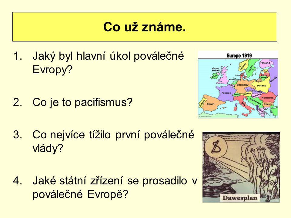 1.Jaký byl hlavní úkol poválečné Evropy. 2.Co je to pacifismus.