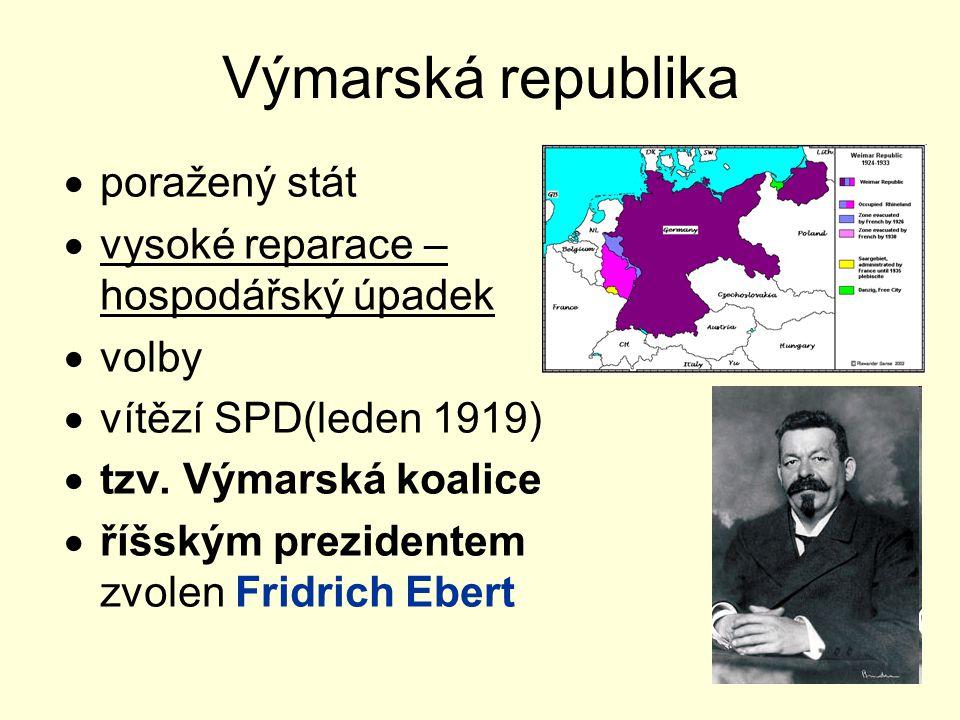 Výmarská republika  poražený stát  vysoké reparace – hospodářský úpadek  volby  vítězí SPD(leden 1919)  tzv.