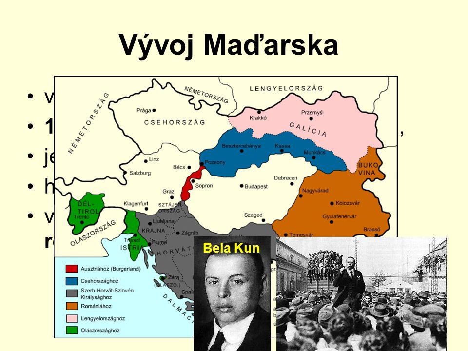 Vývoj Maďarska věřili v neměnnost hranic 1918 vyhlášena Maďarská republika, jednání s Dohodu o území neúspěšná hospodářské potíže v březnu 1919 vyhlášena Maďarská republika rad Bela Kun