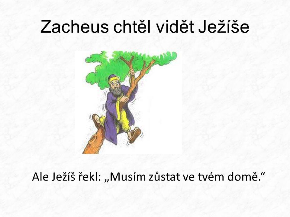 """Zacheus chtěl vidět Ježíše Ale Ježíš řekl: """"Musím zůstat ve tvém domě."""""""