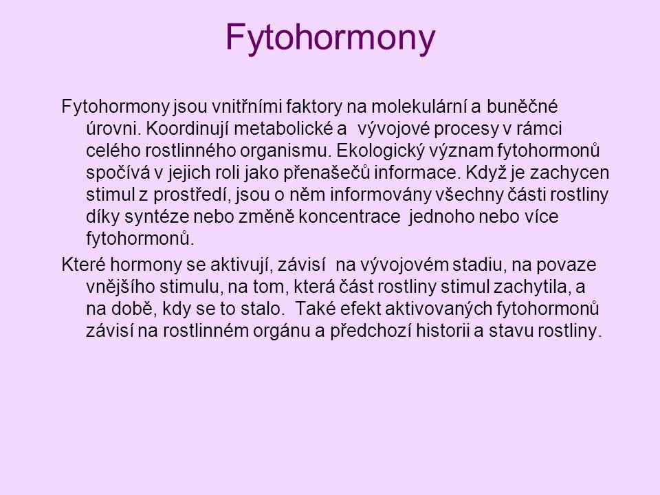 Fytohormony Fytohormony jsou vnitřními faktory na molekulární a buněčné úrovni. Koordinují metabolické a vývojové procesy v rámci celého rostlinného o