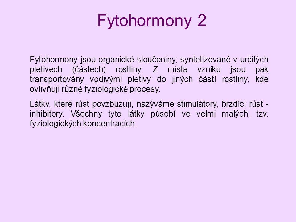 Fytohormony 2 Fytohormony jsou organické sloučeniny, syntetizované v určitých pletivech (částech) rostliny. Z místa vzniku jsou pak transportovány vod