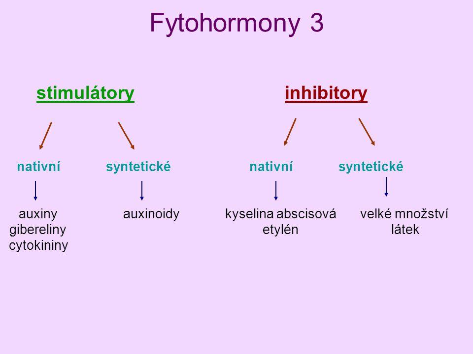 Fytohormony 3 stimulátoryinhibitory nativní syntetické auxiny gibereliny cytokininy auxinoidykyselina abscisová etylén velké množství látek