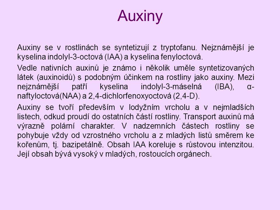 Auxiny Auxiny se v rostlinách se syntetizují z tryptofanu. Nejznámější je kyselina indolyl-3-octová (IAA) a kyselina fenyloctová. Vedle nativních auxi