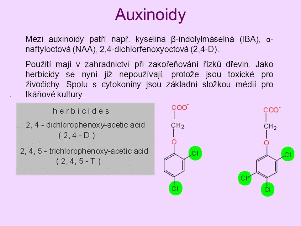 Auxinoidy Mezi auxinoidy patří např. kyselina β-indolylmáselná (IBA), α - naftyloctová (NAA), 2,4-dichlorfenoxyoctová (2,4-D). Použití mají v zahradni
