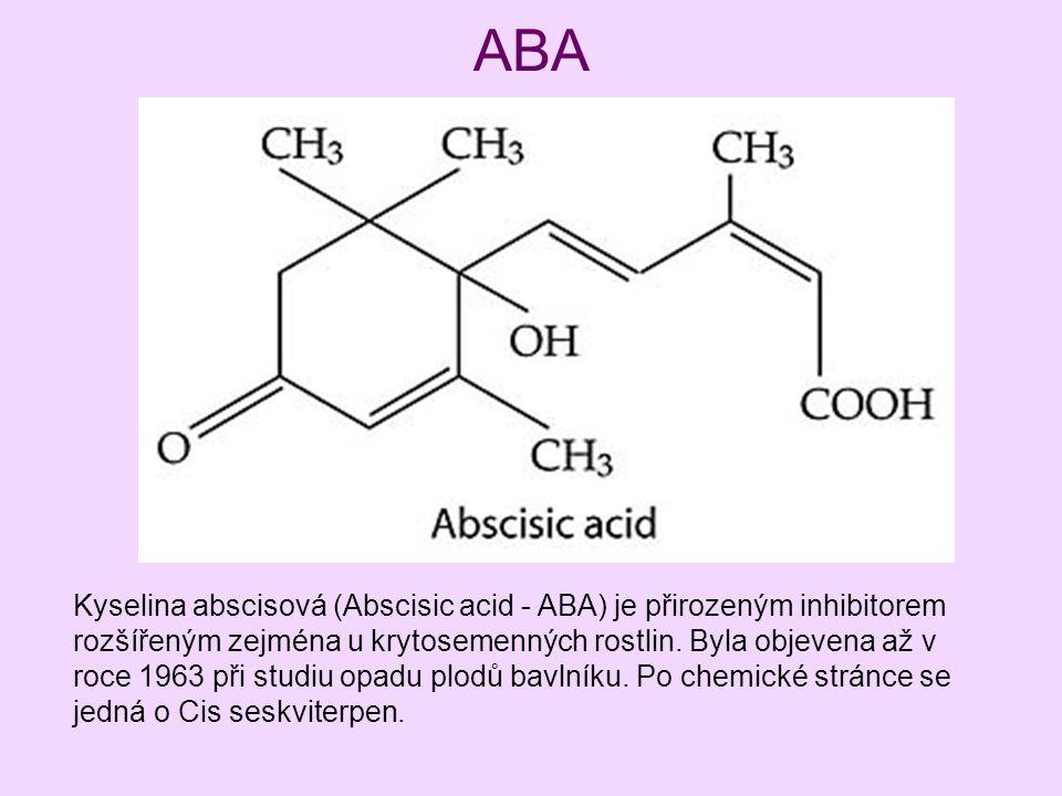 ABA Kyselina abscisová (Abscisic acid - ABA) je přirozeným inhibitorem rozšířeným zejména u krytosemenných rostlin. Byla objevena až v roce 1963 při s