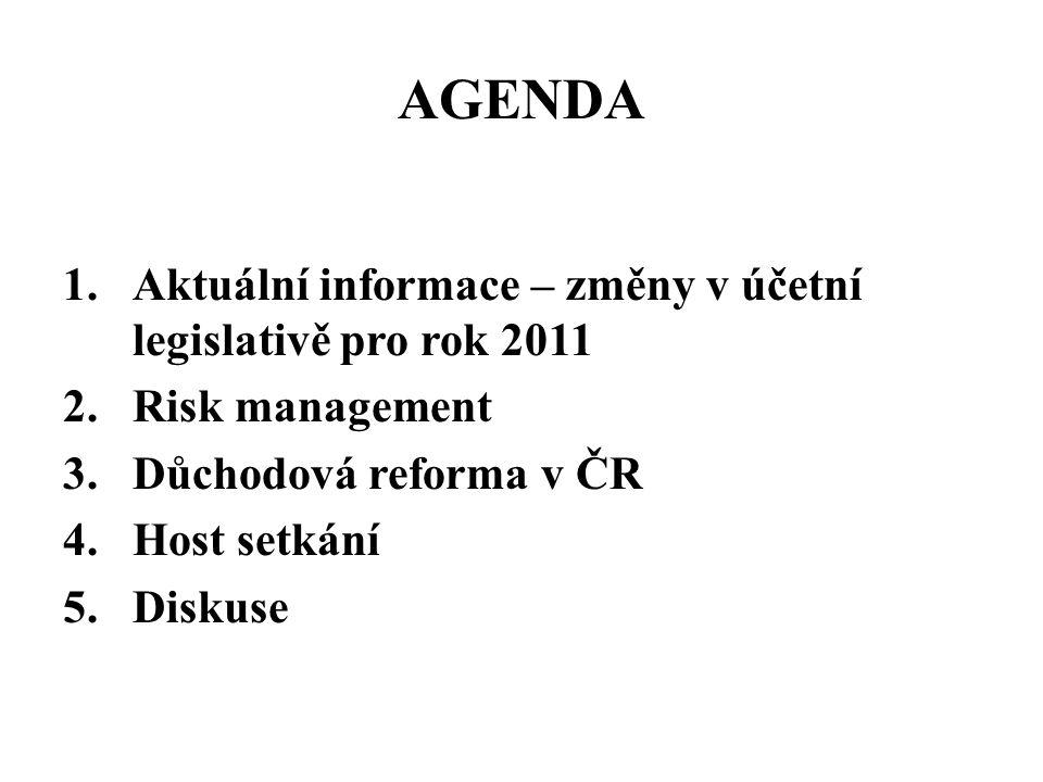 AGENDA 1.Aktuální informace – změny v účetní legislativě pro rok 2011 2.Risk management 3.Důchodová reforma v ČR 4.Host setkání 5.Diskuse