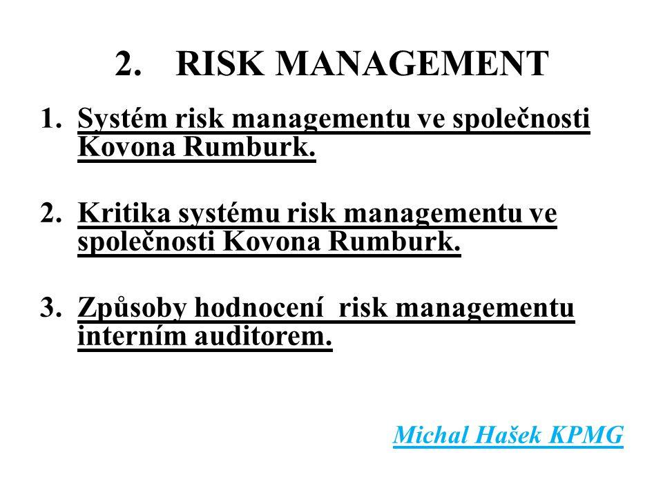2.RISK MANAGEMENT 1.Systém risk managementu ve společnosti Kovona Rumburk. 2.Kritika systému risk managementu ve společnosti Kovona Rumburk. 3.Způsoby