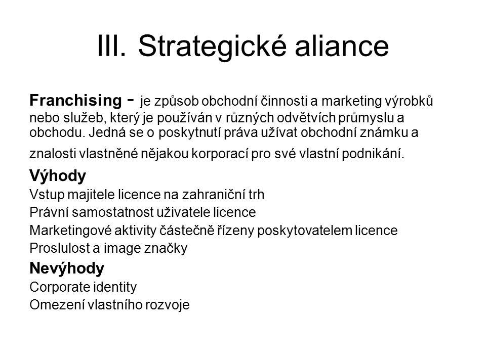 III. Strategické aliance Franchising - je způsob obchodní činnosti a marketing výrobků nebo služeb, který je používán v různých odvětvích průmyslu a o