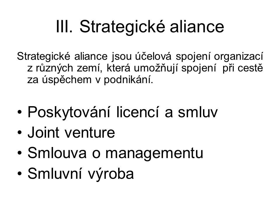III. Strategické aliance Strategické aliance jsou účelová spojení organizací z různých zemí, která umožňují spojení při cestě za úspěchem v podnikání.