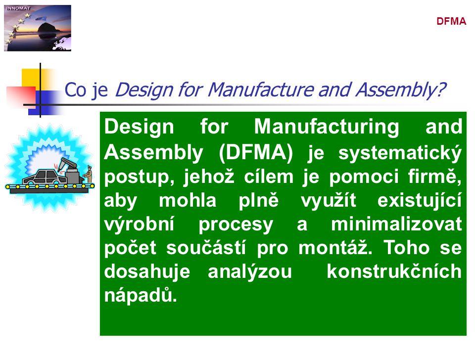 DFMA Design for Manufacturing and Assembly (DFMA) je systematický postup, jehož cílem je pomoci firmě, aby mohla plně využít existující výrobní proces