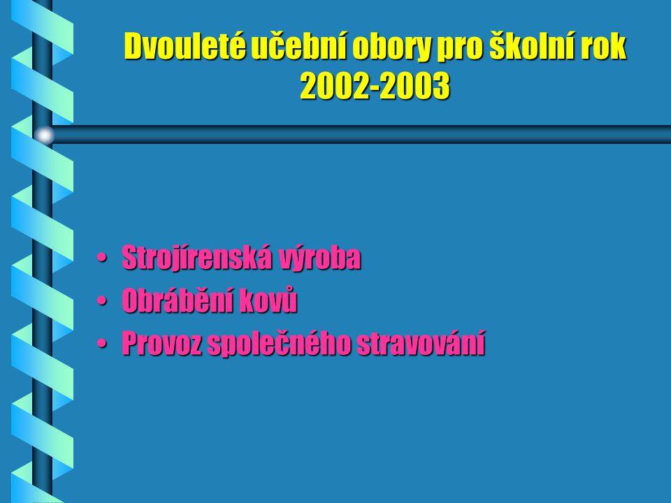 Tříleté učební obory obory pro školní rok 2002-2003 Nástrojař, nástrojařkaNástrojař, nástrojařka Zámečník, zámečniceZámečník, zámečnice Mechanik oprav
