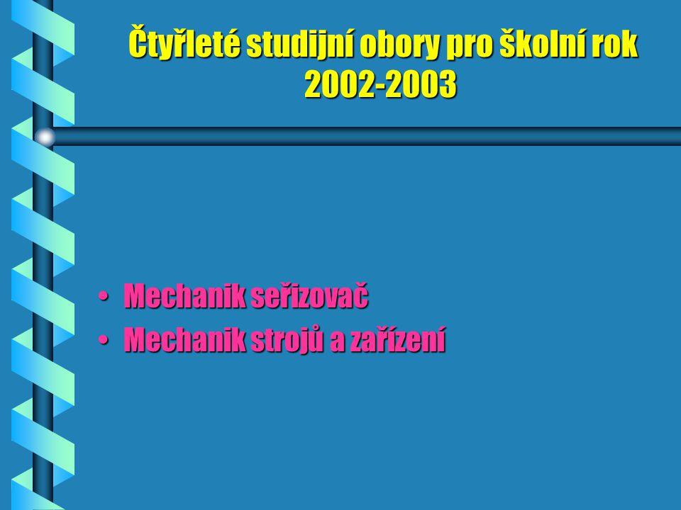 Čtyřleté studijní obory pro školní rok 2002-2003 Mechanik seřizovačMechanik seřizovač Mechanik strojů a zařízeníMechanik strojů a zařízení