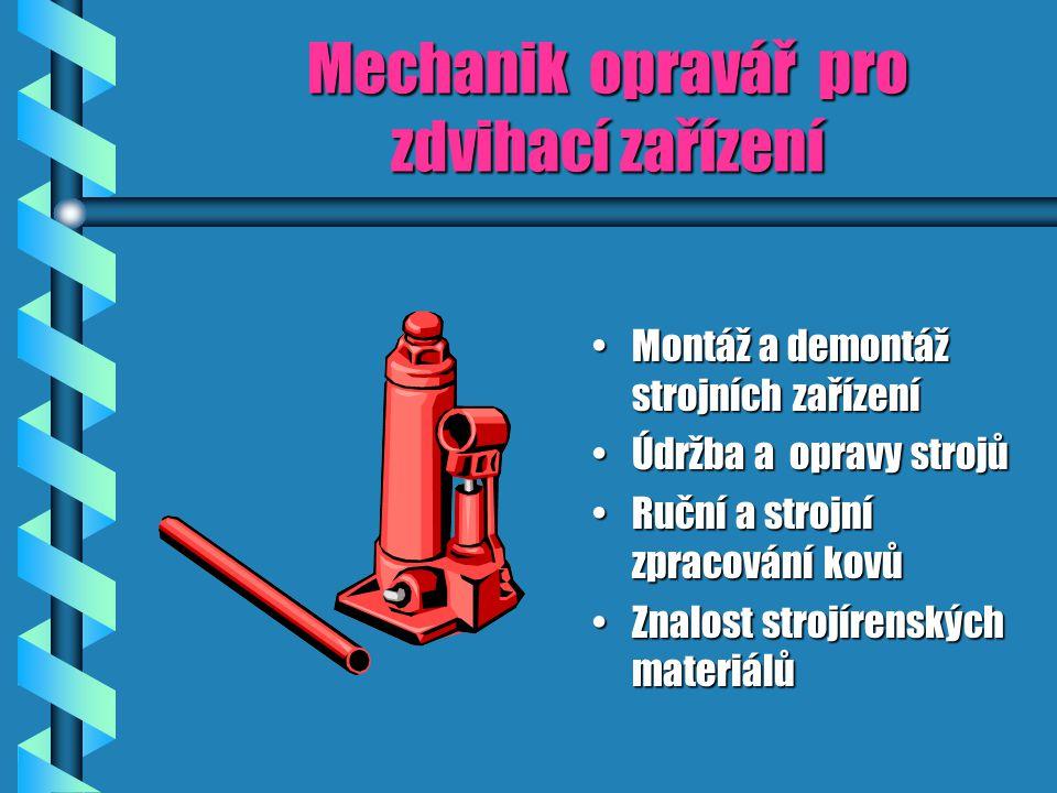 Mechanik Mechanik opravář pro zdvihací zařízení Montáž a demontáž strojních zařízení Údržba a opravy strojů Ruční a strojní zpracování kovů Znalost strojírenských materiálů
