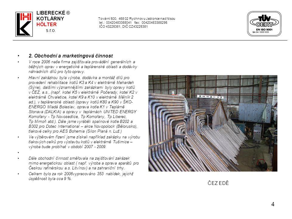 4 2. Obchodní a marketingová činnost V roce 2006 naše firma zajišťovala provádění generálních a běžných oprav v energetické a teplárenské oblasti a do