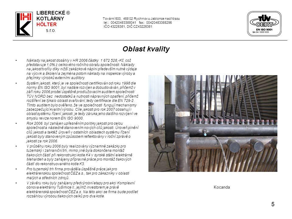 5 Tovární 500, 468 02 Rychnov u Jablonce nad Nisou tel.: 00420483388041 fax: 00420483388295 IČO 43225381, DIČ CZ43225381 Oblast kvality Náklady na jakost dosáhly v HR 2006 částky 1 672 528,-Kč, což představuje 1,0% z celkového ročního obratu společnosti.