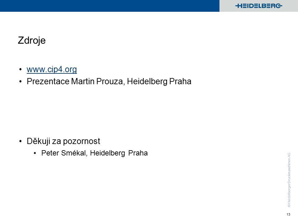 © Heidelberger Druckmaschinen AG Zdroje www.cip4.org Prezentace Martin Prouza, Heidelberg Praha Děkuji za pozornost Peter Smékal, Heidelberg Praha 13